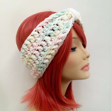 FREE SHIPPING - Crochet Knotted Turban Ear Warmer Headband - Pastel, White, Cream, Green, Pink, Yellow