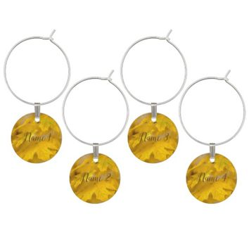 Yellow autumn maple leaves. Add you text or name. Wine Charm