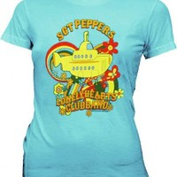 The Beatles Sgt Peppers Submarine Light Teal Juniors T-shirt  - The Beatles - | TV Store Online