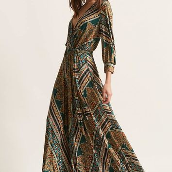 Ornate Surplice Floral Maxi Dress