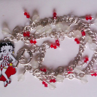 """Betty Boop Necklace with Vintage 1950's Frosted Glass Beads and Swarovski Light Siam Crystals // 18"""" // 40% to Susan G Komen for the Cure"""
