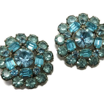 Weiss Teal Blue Rhinestone Earrings Vintage Signed Designer Flower Clip on Earrings Costume Jewelry Gift