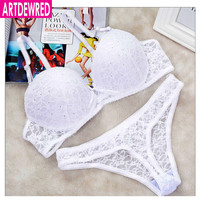 [Hot sales] New 2017 Lace Drill Bra Set Women Plus Size Push Up Underwear Set Bra And Thong Set 34 36 38 40 ABC Cup For Female