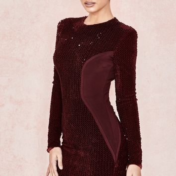 Kulie Wine Bandage Sequin Long Sleeve Dress