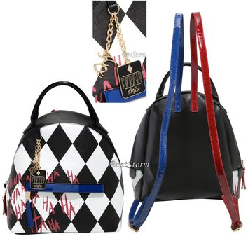 """Licensed cool Suicide Squad Harley Quinn """"Puddin"""" Mini Faux Leather Backpack Purse DC"""