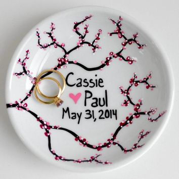 Spring Cherry Blossom Ring Dish   Customized Anniversary And Wedding Gift   Personalized Spring Wedding