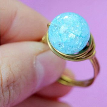 Blue jelly crystal ring