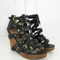 Matt Bernson 'Marion' Black Strappy Vegan Leather Platform Wedge Sandals 9