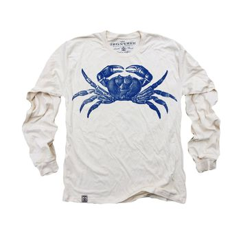 Blue Crab: Organic Fine Jersey Long Sleeve T-Shirt in Unbleached Natural