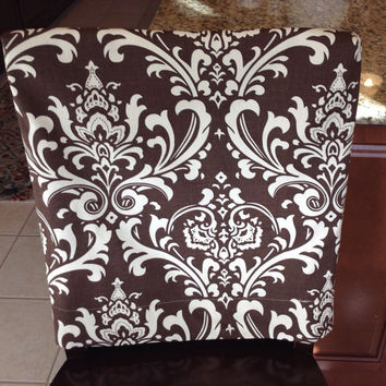Kitchen chair slipcover, chair back cover, dining room chair cover, counter or bar stool seat back cover, washable, removable damask