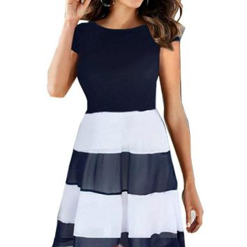 It's a Beautiful Day Navy and White Pleated Chiffon Dress