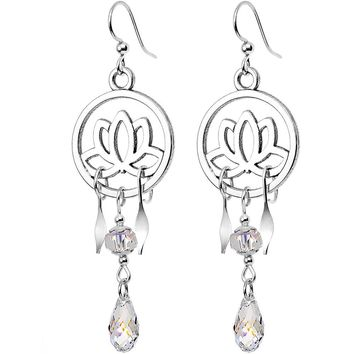 Handcrafted Clear Lotus Dangle Earrings Created with Swarovski Crystal