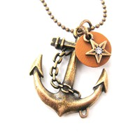 Classic Anchor Shaped Nautical Themed Charm Necklace in Bronze   DOTOLY