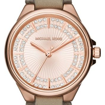 Women's Michael Kors 'Slim Camille' Crystal Dial Leather Strap Watch, 33mm - Grey/ Rose Gold (Nordstrom Exclusive)