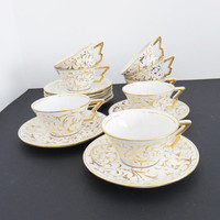 Vintage signed Angelo Minghetti white and gold demitasse tea cups saucers - Vintage Italian mini coffee cups espresso cups
