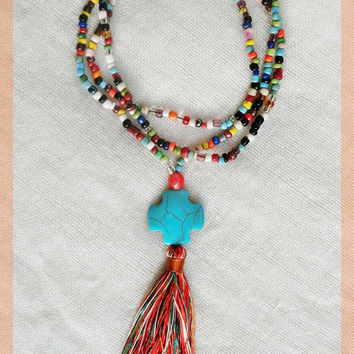 Tassel necklace lovebeads and turquoise cross bead