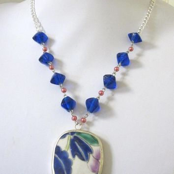 Blue Leaf Necklace Pottery Shard Oriental Jewelry Porcelain Pendant