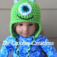 "Crochet 18"" Beanie - American Girl Doll - Beanie Mike Monster inspired Ready To Ship - RTS - Crochet Monster Beanie - Crochet Beanie - Doll"
