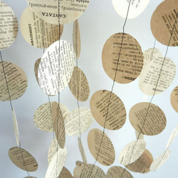 Antique Paper Garland, Dictionary, 88th BIRTHDAY, Birthday, Anniversary, Retirement, Librarian, Wedding, Party Decorations, 10' long