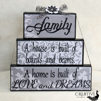Family A house is built of boards and beams A home is built of love and dreams wood blocks decor