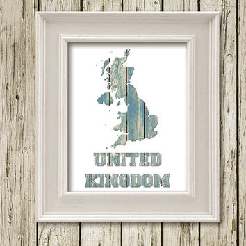 UK United Kingdom MAP on Wood Background Printable Instant Download Print Poster Home Decor Wall Art WM2018