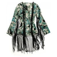 Long-sleeve polyester satin print bolero with lavish contrast fringe