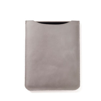Leather iPad case in cream color