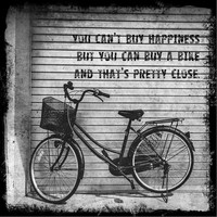 You can't buy happiness but you can buy a bike and that's pretty close | Vintage bicycle photograph black and white quote | wall art | deco