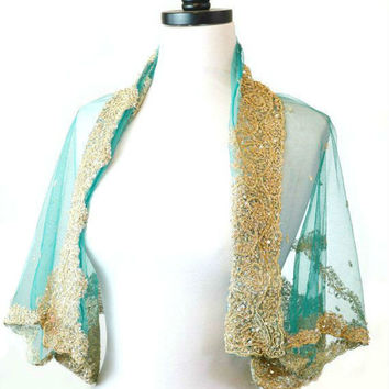 Beaded Teal Shrug