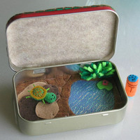 Turtle playset in Altoid tin miniature plush felt toy - pond rocks play food and turtle