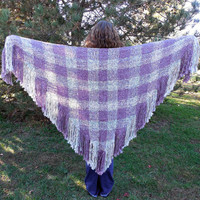 Handwoven Shawl Womens Large Triangle Shawl Wrap Lavender Purple Heather Celtic Plaid