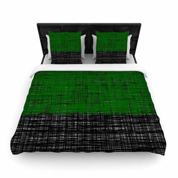 KESS InHouse Trebam Stepenice V3  Green Pattern Bed Runner 34 X 86