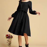 Black dress winter wool dress midi dress (321)