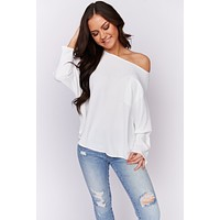 Here For The Romance Dolman Sleeve Blouse (Off White)