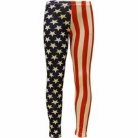 Ladies Star & Stripe American USA Flag Print Leggings In Small Size 18