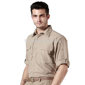Tactical Fast Quick Drying  Mens Long Sleeve Shirts Military Tactical Hunting Army Clothing Male outwear