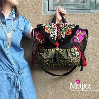 Change Of Color Embroidered Tote Shoulder Message bag by miyabags