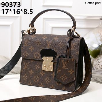LV 2019 new female classic old flower embossed logo handbag shoulder bag Coffee