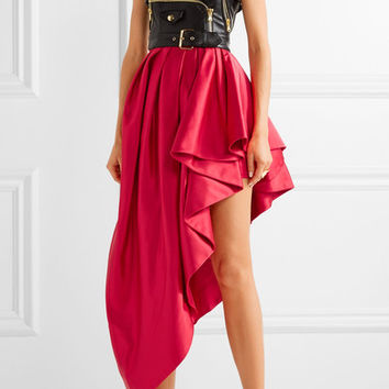 Moschino - Faux leather and ruffled satin midi dress