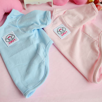 Hot Selling 100% Cotton Dog Clothes Blank Dog T Shirts Autumn/Spring Puppy Plain Dog T Shirt Dog Clothing  XS to XL Pink Blue