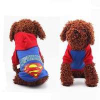 Super Man Pet Dog Clothes Autumn Winter Small Dogs Coat Jacket Hoodie Sweatshirt Puppy Cotton Chihuahua Costume Clothing Apparel