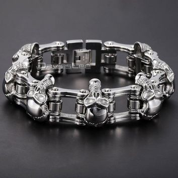 Davieslee HEAVY Boys Mens Chain Skull Black Gold Silver Tone Biker Motorcycle