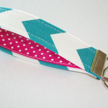 Key FOB / KeyChain / Wristlet  - Ture Turquoise Chevron with Hot pink white polka dots