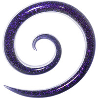4 Gauge Blue Dichroic Glass Super Spiral Taper