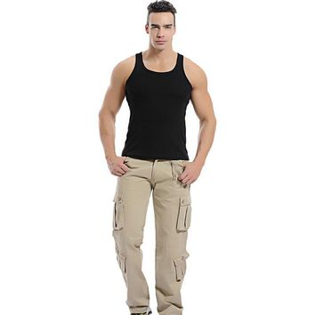 2016 military cargo pants army baggy camouflage outdoors  joggers multi pocket trousers 28-40 CYG16