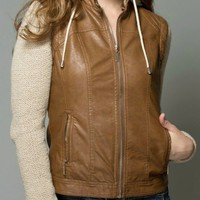 Vegan Leather Transformer Jacket in Camel