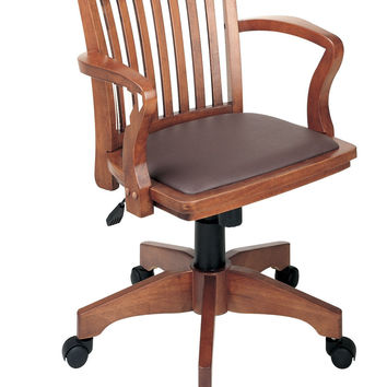Office Star Deluxe Wood Bankers Desk Chair with Brown Vinyl Padded Seat Fruit Wood Fruit Wood/Brown '