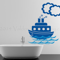 Tug boat nautical wall decal, wall sticker, decal, wall graphic , vinyl decal for the bathroom