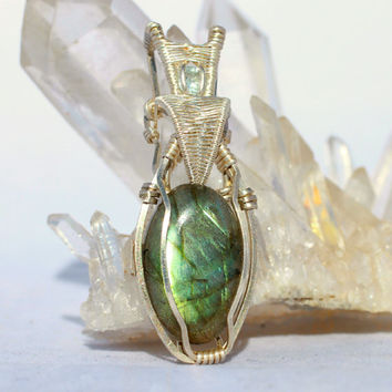 Labradorite Pendant, Wire Wrapped Pendant, Aquamarine Pendant, Heady Wire Wrap, Fine Jewelry, Metaphysical Energy Pendant, Iridescent Gift