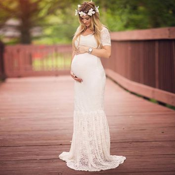 2018 Moms To Be Maternity Fancy Lace White Dress Pre-Order